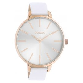 Oozoo C10710 Damenuhr mit Lederband Weiß/Roségoldfarben 48 mm