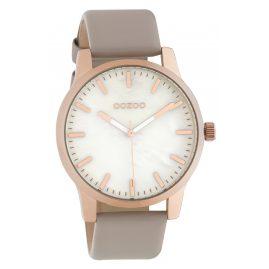 Oozoo C10728 Damen-Armbanduhr mit Lederband Taupe/Roségoldfarben 42 mm