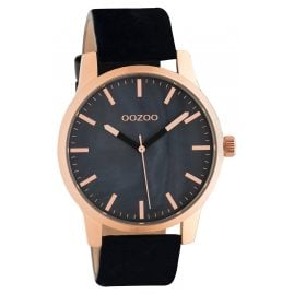 Oozoo C10729 Ladies' Watch with Leather Strap Black/Rose Gold Tone 42 mm