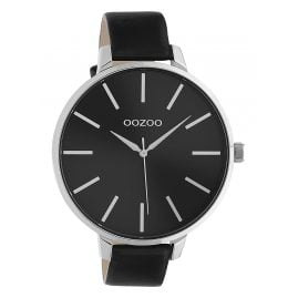 Oozoo C10714 Women's Watch with Leather Strap Black / Silver Tone 48 mm