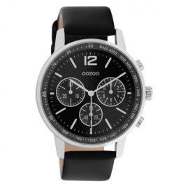 Oozoo C10813 Armbanduhr mit Lederband Ø 42 mm Schwarz/Silber
