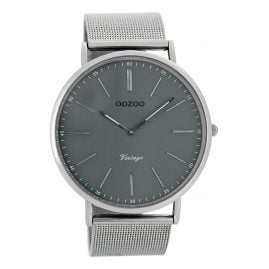 Oozoo C7382 Vintage Mens Watch Grey/Silver 44 mm