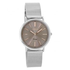 Oozoo C8826 Ladies Watch Vintage Mesh Silver Tone/Grey 32 mm