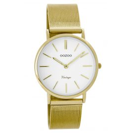 Oozoo C8875 Vintage Ladies Watch Gold / White 32 mm