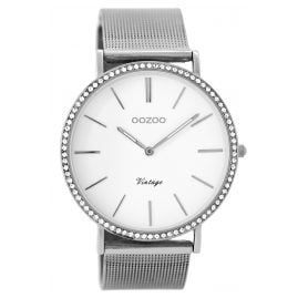 Oozoo C8890 Ladies Wrist Watch Vintage Silver/White 40 mm