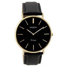 Oozoo C9300 Armbanduhr Vintage Schwarz/Gold Unisex 40 mm