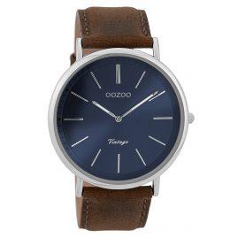 Oozoo C9358 Herren-Armbanduhr Vintage Silberfarben/Braun/Blau 44 mm