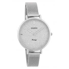Oozoo C9825 Ladies' Watch Vintage Silver/Glitter 34 mm with Mesh Bracelet