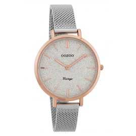 Oozoo C9826 Ladies' Watch Vintage Silver/Glitter 34 mm with Mesh Bracelet