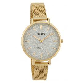 Oozoo C9828 Ladies' Watch Vintage Silver/Glitter 34 mm with Mesh Bracelet