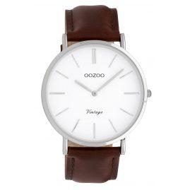 Oozoo C9830 Damenuhr Vintage Weiß/Dunkelbraun 40 mm