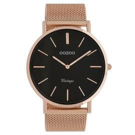 Oozoo C9924 Watch Vintage Rose Gold-Tone/Black 44 mm