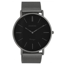 Oozoo C9928 Watch Vintage Titanium-Tone/Black 44 mm