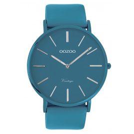 Oozoo C9878 Armbanduhr mit Lederband Marineblau 44 mm