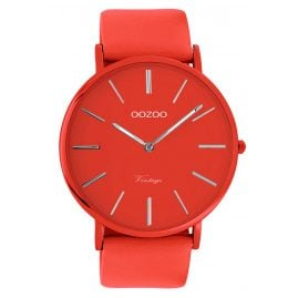 Oozoo C9879 Armbanduhr mit Lederband Chili Pepper 44 mm