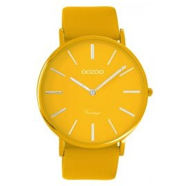 Oozoo C9881 Watch with Leather Strap Mustard Yellow 44 mm