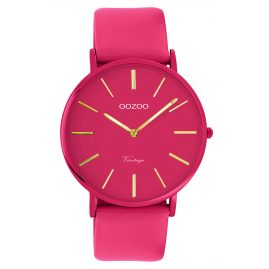 Oozoo C9888 Watch with Leather Strap Fuchsia 40 mm