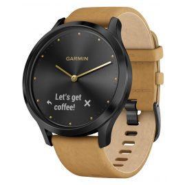 Garmin 010-01850-00 vivomove HR Premium Fitness Tracker Smartwatch Black/Tan