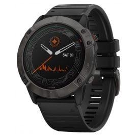 Garmin 010-02157-21 fenix 6X Pro Solar Smartwatch Slate with Titanium Bezel