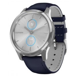 Garmin 010-02241-00 vivomove Luxe Smartwatch with Leather Strap Blue