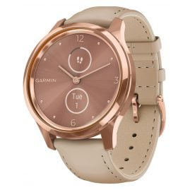 Garmin 010-02241-01 vivomove Luxe Smartwatch with Leather Strap Beige
