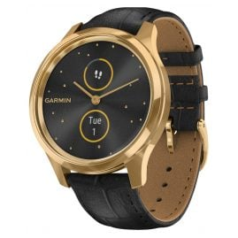 Garmin 010-02241-02 vivomove Luxe Smartwatch with Leather Strap Black
