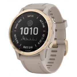 Garmin 010-02409-11 Fenix 6S Pro Solar Smartwatch Beige / White Gold