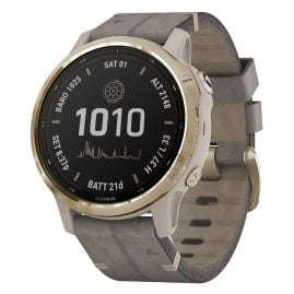 Garmin 010-02409-26 Fenix 6S Pro Solar Smartwatch Gold Tone / Grey Leather