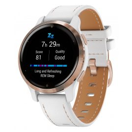 Garmin 010-02429-23 Venu 2S Fitness Smartwatch White/Rose + Leather Strap