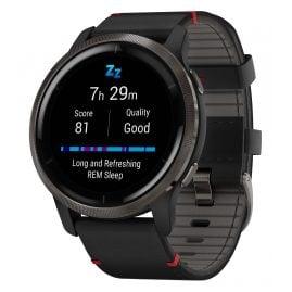 Garmin 010-02430-21 Venu 2 Fitness Smartwatch Black/Grey + Leather Strap
