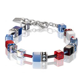 Coeur de Lion 2838/30-0703 Ladies Bracelet GeoCUBE Blue Red
