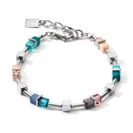 Coeur de Lion 5022/30-0751 Damen-Armband GeoCUBE Blau/Türkis/Pfirsichfarben