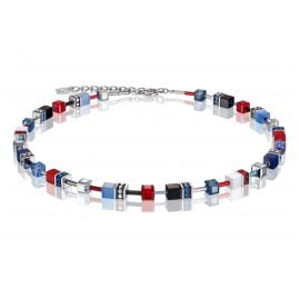 Coeur de Lion 2838/10-0703 Women's Necklace GeoCUBE Multi-Colour Blue-Red