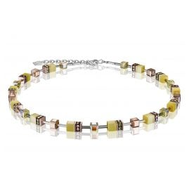 Coeur de Lion 4016/10-0120 Damen-Halskette GeoCUBE Hellgelb