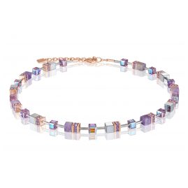 Coeur de Lion 4017/10-0829 Ladies' Necklace GeoCUBE Amethyst & Haematite Lilac