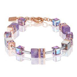 Coeur de Lion 4017/30-0829 Ladies' Bracelet GeoCUBE Amethyst & Haematite Lilac