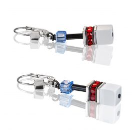 Coeur de Lion 2838/20-0703 Ladies' Drop Earrings GeoCUBE Multi-Colour Blue-Red