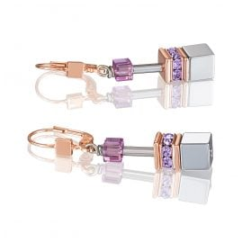 Coeur de Lion 4017/20-0829 Women's Drop Earrings GeoCUBE Lilac