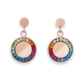 Coeur de Lion 5004/21-1577 Drop Earrings Multicolour Stainless Steel Disk rose gold