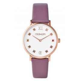 Coeur de Lion 7611/71-0814 Women's Watch Brilliant White Leather Strap Mauve