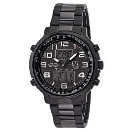 ETT Eco Tech Time EGS-11390-25M Men's Solar Radio-Controlled Watch Hunter II Black