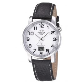 Master Time MTGA-10294-12L Men's Radio-Controlled Watch Basic Leather Strap Black