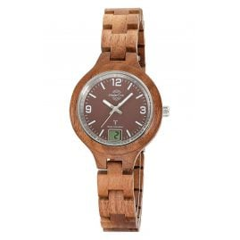 Master Time MTLW-10750-81W Women's Wood Watch Radio-Controlled Specialist