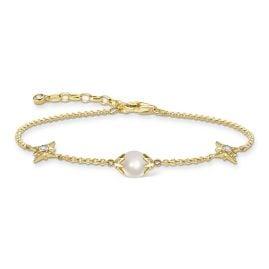 Thomas Sabo A1978-445-14-L19v Damen-Armband Perle mit Sternen Goldfarben