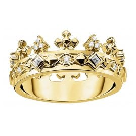 Thomas Sabo TR2302-414-14 Women's Ring Crown Gold Plated Silver