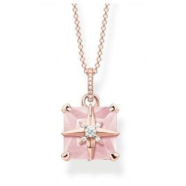 Thomas Sabo KE1953-417-9-L45v Women's Necklace Rose Stone with Star rose gold