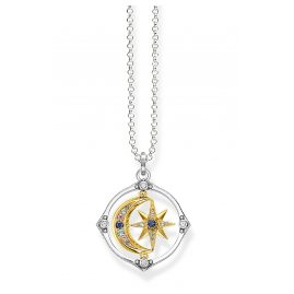 Thomas Sabo KE1983-556-7-L70 Ladies' Necklace Star & Moon Silver Two-Colour
