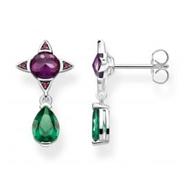 Thomas Sabo H2073-348-7 Ladies' Earrings Green Drop with Purple Stone