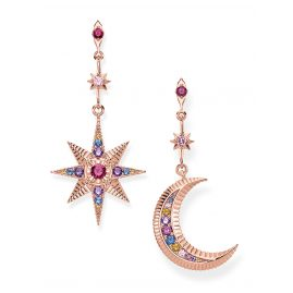 Thomas Sabo H2025-321-7 Earrings Royalty Star & Moon Rose Gold Plated Silver