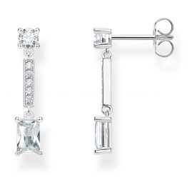 Thomas Sabo H2091-051-14 Silver Drop Earrings for Ladies Angular Stones White